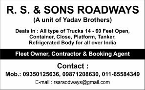 R.s. & Sons Logistics Packers Movers