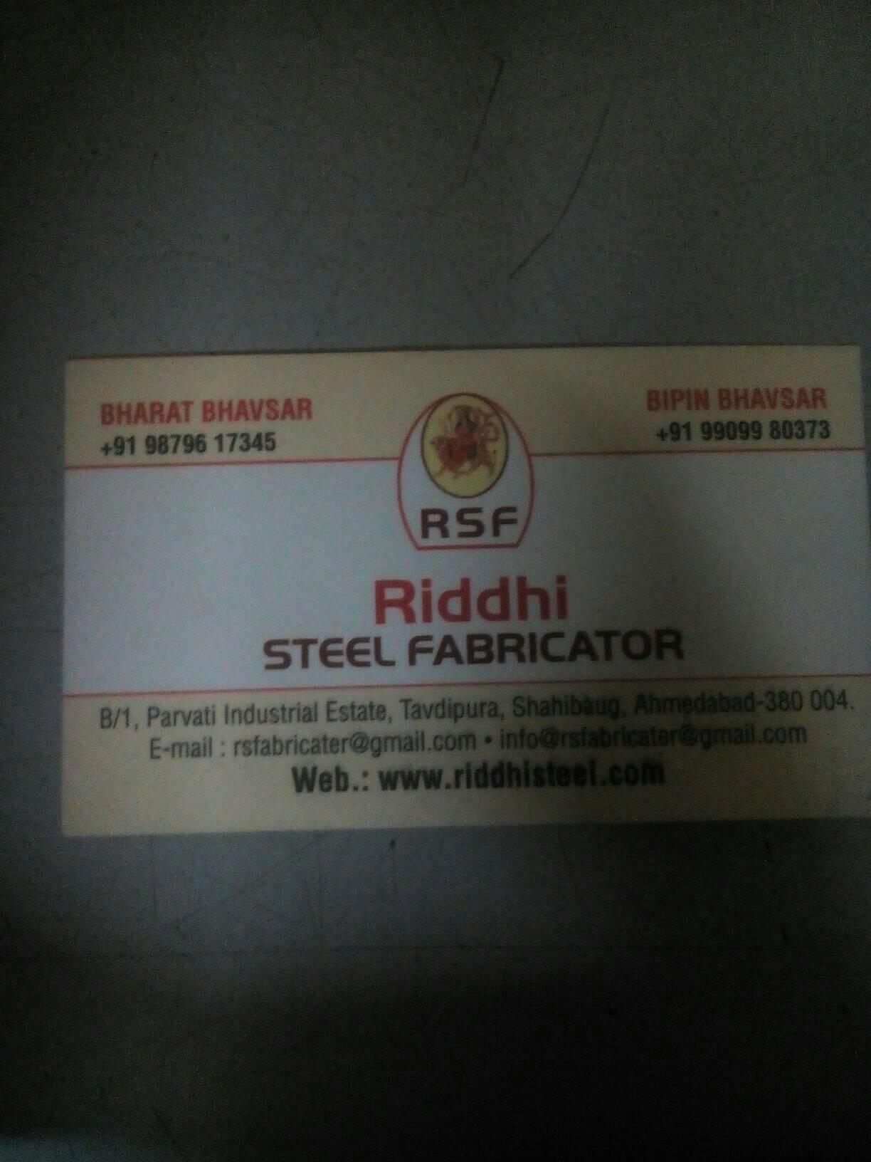 Riddhi Steel Menu