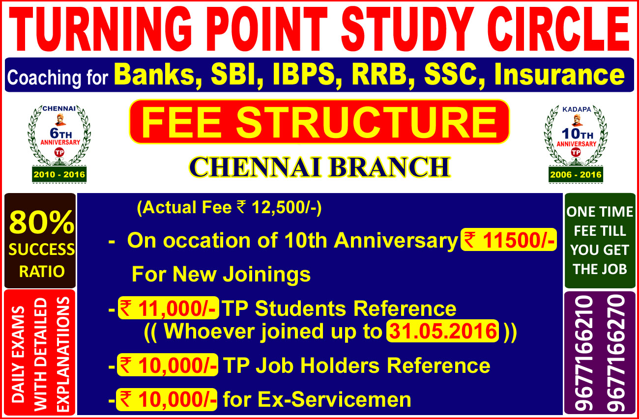 Bank Exam Coaching Center- Turning Point study Circle 9677166270